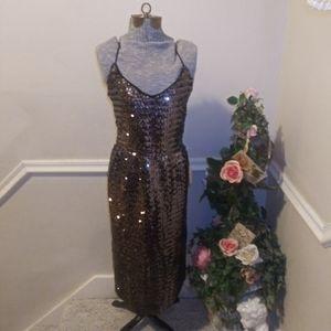 NWT Vtge David Morris Blk/Silver 80's Sequin Dress
